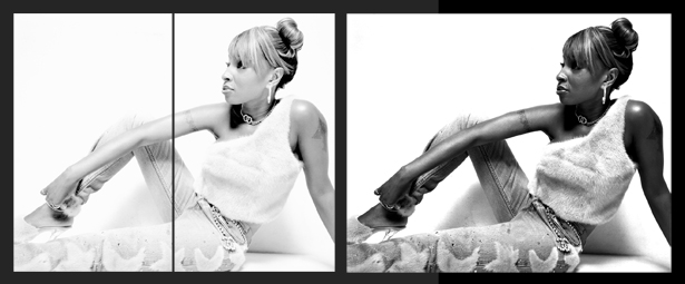 Before and After: Mary J. Blige photographed by Nicolai Grosell